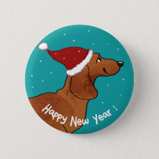 Dachshund Happy New year dog 6 Cm Round Badge