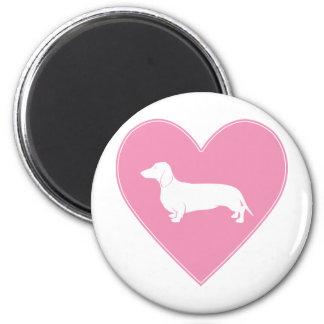 Dachshund Heart Classic Pink Fridge Magnet