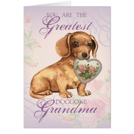 Dachshund Heart Grandma Card