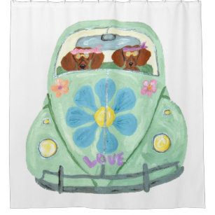 Dachshund Hippies In Flower Love Mobile Shower Curtain
