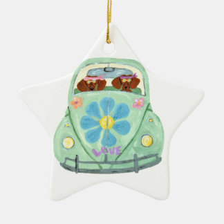 Dachshund Hippies In Their Flower Love Mobile Christmas Ornament