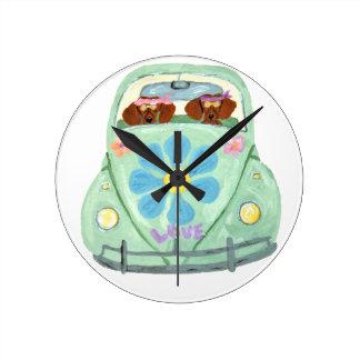 Dachshund Hippies In Their Flower Love Mobile Round Clock