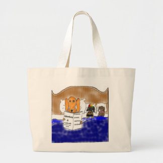 Dachshund illustration large tote bag