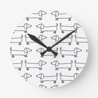 Dachshund in black-white round clock