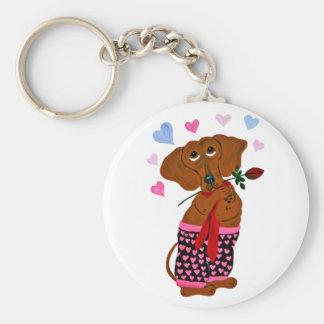 Dachshund In Pink Heart Shorts Key Ring