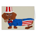 Dachshund In Uncle Sam Suit Greeting Cards