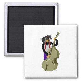 Dachshund Jazz Bass Player Refrigerator Magnet