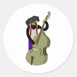 Dachshund Jazz Bass Player Round Sticker