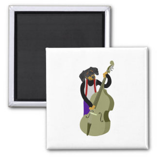 Dachshund Jazz Bass Player Square Magnet