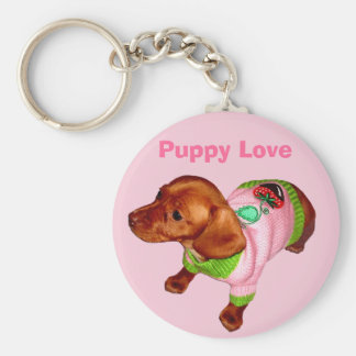Dachshund Keyring with Sweet Puppy in Pink Sweater Basic Round Button Key Ring