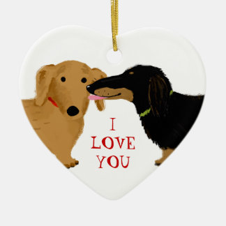 Dachshund Kiss Ceramic Heart Decoration