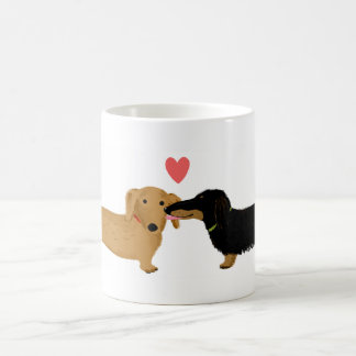 Dachshund Kiss with Heart Basic White Mug