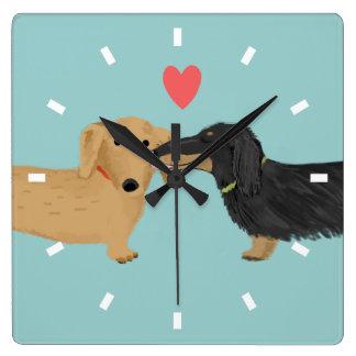 Dachshund Kiss with Heart Clocks