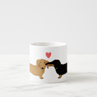 Dachshund Kiss with Heart Espresso Mug