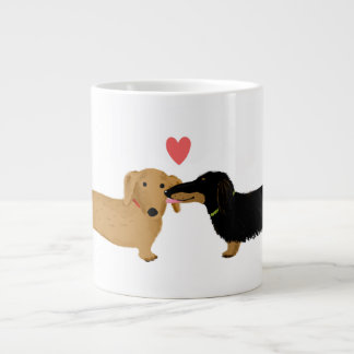 Dachshund Kiss with Heart Jumbo Mug