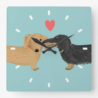 Dachshund Kiss with Heart Square Wall Clock