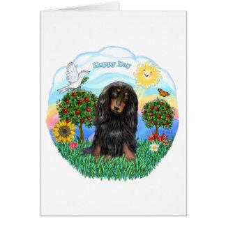 Dachshund (LH - Black-Tan) Greeting Card