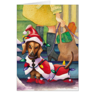 Dachshund Lights - Funny Christmas Card