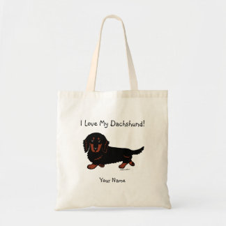 Dachshund Long Haired Black and Tan Tote Bags