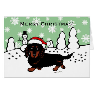 Dachshund Long Haired Black and Tan Card