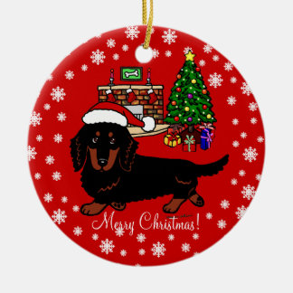 Dachshund Long Haired Black and Tan Christmas Ornament