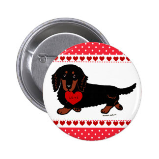 Dachshund Long Haired Black and Tan Heart 6 Cm Round Badge