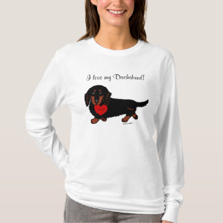 Dachshund Long Haired Black and Tan Heart T-Shirt