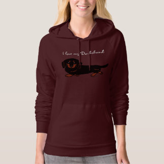 Dachshund Long Haired Black and Tan Hoodie