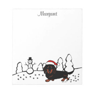 Dachshund Long Haired Black and Tan Notepad