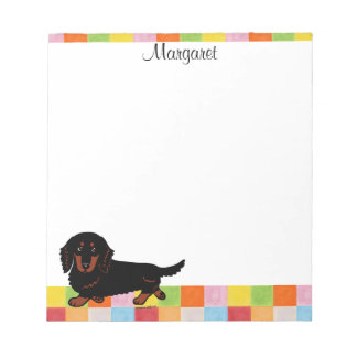 Dachshund Long Haired Black and Tan Notepads