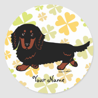 Dachshund Long Haired Black and Tan Round Sticker