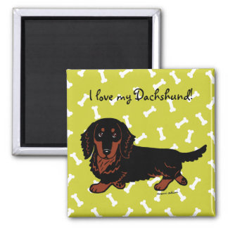 Dachshund Long Haired Black and Tan Square Magnet