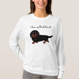 Dachshund Long Haired Black and Tan T-Shirt
