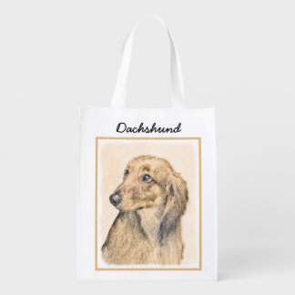 Dachshund (Longhaired) 2 Painting Original Dog Art Reusable Grocery Bag