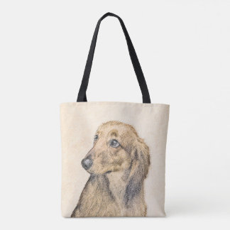 Dachshund (Longhaired) 2 Painting Original Dog Art Tote Bag