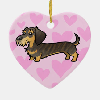 Dachshund Love (add your own message) Ceramic Heart Decoration