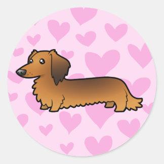 Dachshund Love (longhair) Round Stickers