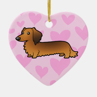 Dachshund Love (longhaired) Ceramic Heart Decoration