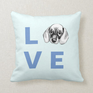 Dachshund LOVE puppy baby blue pillow