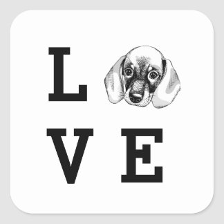 Dachshund LOVE puppy Square Sticker