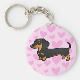 Dachshund Love (smooth coat) Basic Round Button Key Ring