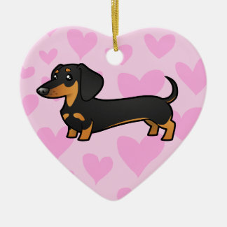 Dachshund Love (smooth coat) Ceramic Heart Decoration