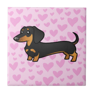 Dachshund Love (smooth coat) Tile