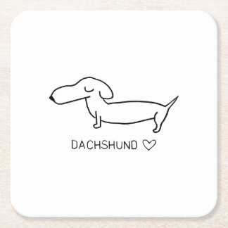 Dachshund Love Square Paper Coaster