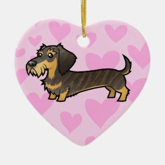 Dachshund Love (wirehair) Ceramic Heart Decoration