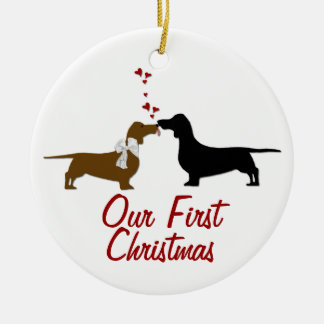 Dachshund Lovers First Christmas Custom Round Ceramic Decoration