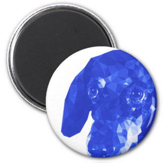 Dachshund Low Poly Art in Blue 6 Cm Round Magnet