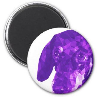 Dachshund Low Poly Art in Purple 6 Cm Round Magnet