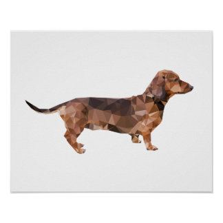 Dachshund Low Poly Art Poster