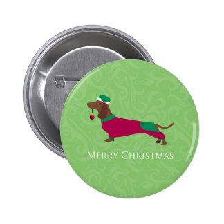 Dachshund - Merry Christmas Design 6 Cm Round Badge